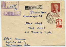 SOVIET UNION 1958 Registered Cover From Kaunas To BRD With Correct 1.60 R. Franking. - 1923-1991 USSR