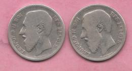 2 Pieces BELGIQUE BELGIUM  2 Francs 1866 + 2 Francs 1867 ** 2 Scannes - 1865-1909: Leopold II