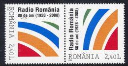 ROMANIA 2008 Radio Romania Anniversary Tete-beche Pair MNH / **.  Michel 6332 - 1948-.... Republics