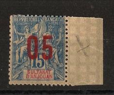 Anjouan - 1912 - N°Yv. 22A - Variété Chiffres Espacés - Bord De Feuille - Neuf Luxe ** / MNH / Postfrisch - Anjouan (1892-1912)