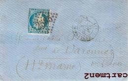TIMBRE CERES SUR LETTRE 1871 ENVOI AU CURE DE VARENNES LANGRES HAUTE-MARNE - 1871-1875 Ceres