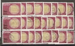 Belgique 1970 - Europa - Cob 1530 - Petit Lot De 25 ° Pour étude De Nuances Et Entrelaçage - Belgium