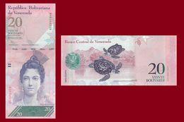 Venezuela P91, 20 Bolivar, Luisa Arismendi /Hawksbill Sea Turtle, 2014 UNC $10CV - Venezuela