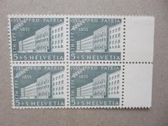 SUISSE / SCHWEIZ / SVIZZERA / SWITZERLAND // 1955, 5+5Rp. PRO PATRIA ** (MNH), 4er Block, Mit Bogenrand - Zwitserland