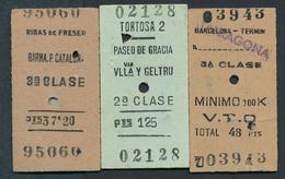 SPAIN QY2222 3 Billetes 1959-68 Tortosa Ribas De Freser Barcelona Paseo De Gracia - Europa