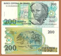 Brazil P229, 200 Cruzeiros, Patria Flag Making Painting By Pedro Grund, See W/m - Brazil