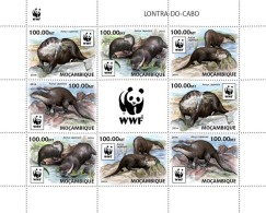 MOZAMBIQUE 2016 - WWF African Otter M/S 2 Sets. Official Issue - W.W.F.