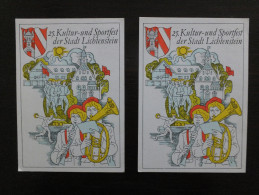 DDR Germany, 2 Stationeries, 2 Ganzsachen, Sonder Stempel, 25. Kultur Und Sportfest Der Stadt Lichtenstein - Cartes Postales - Oblitérées