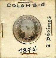 COLOMBIA 2 Decimos 1874 - Medellin - Very Rare Silver Coin - Colombia