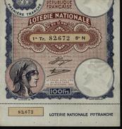 France 1933 1ère Année Des Billets De La Loterie Nationale  1ère Tranche 100F Femme Casquée Laurée - Billets De Loterie
