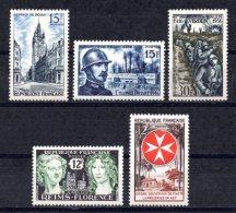 1956 FRANCE DOUAI - DRIANT - BATTLE OF VERDUN - REIMS FLORENCE - MALTESE CROSS MICHEL: 1079-1081, 1089-1090 MNH ** - France