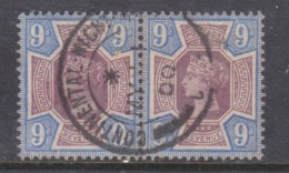 Great Britain, Queen Victoria, 1887 Jubilee, 9d Pair, Used CONTINENTAL NIGHT(MAIL) MY 11 00 C.d.s.