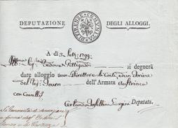 Italia 1799  Firenze Lettera  Per Dare Alloggio Alla Armata Austriaca - Italy