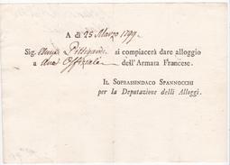 Italia 1799  Lettera  Della Sig Pittigardi Per Dare Alloggio Alla Armata Francese - Italy