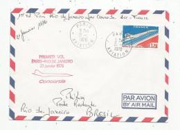 G-I-E , LETTRE , Premier Vol Paris - Rio De Janeiro , 21 Janvier 1976 : CONCORDE , PARIS AVIATION , 2 Scans