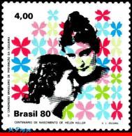 Ref. BR-1706 BRAZIL 1980 - HEALTH, PREVENTING BLINDNESS,, HELEN KELLER, FAMOUS PEOPLE, MNH,1V Sc# 1706 - Handicaps