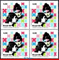 Ref. BR-1706-Q BRAZIL 1980 - HEALTH, PREVENTING BLINDNESS,, HELEN KELLER, FAMOUS PEOPLE, BLOCK MNH,4V Sc# 1706