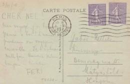 SEMEUSE 45C X 2 SUR CPA AU TARIF PARIS 3/6/28 POUR LA HONGRIE                        TDA24 - 1921-1960: Periodo Moderno