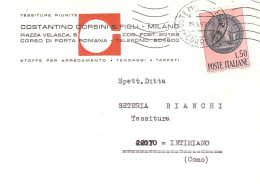 £50 CENTENARIO DELLA RAGIONERIA DELLO STATO BUSTA TESSITURE RIUNITE COSTANTINO CORSINI MILANO - 6. 1946-.. Repubblica