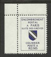 FRANCE 1988 - GREVES DES PTT - ENCOMBREMENT POSTAL - PARIS - REIMS - NON DENTELE - MAURY 39 - Strike Stamps