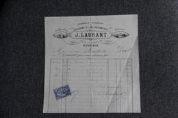Facture Ancienne Publicitaire , BORDEAUX, Fabrique De Bouchons Et Liège En Planches, J.LAURANT - 1800 – 1899