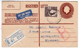 656 Australia 1955 Registered Letter Postal Stationery Regents Park To Hungary