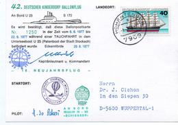 - ALLEMAGNE - Carte Postale HOHENTENGEN Pour WUPPERTAL 1.1.1978 - DEUTSCHER KINDERDORF BALLONFLUG - UNTERSEEBOOT U 23 -