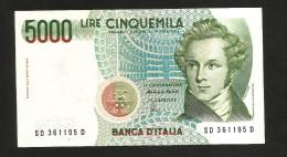 ITALIA 5000 Lire BELLINI - Rep. Italiana (Firme: Fazio / Amici) - [ 2] 1946-… : Repubblica