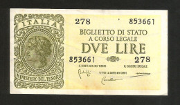 ITALIA - 2 LIRE ITALIA LAUREATA - (Firme: Bolaffi / Cavallaro / Giovinco - Decr. 23/11/1944) LUOGOTENENZA - [ 1] …-1946 : Koninkrijk