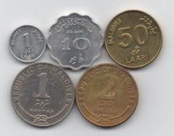Maldives : Série De 5 Pièces : 1 Laari - 10 Laari - 50 Laari - 1 Rufiyaa - 2 Rufiyaa 1979-2008 - Maldives