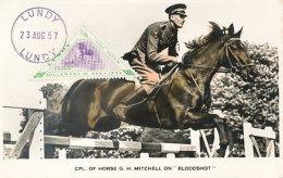 D26339 CARTE MAXIMUM CARD 1957 LUNDY - HORSE JUMPING TRIANGULAR STAMP CP ORIGINAL - Horses