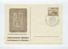 1938 3. Reich Sonderkarte Schwäbische Postwertzeichenausstellung Stuttgart Mit Mi 651 SST - Briefe U. Dokumente
