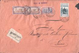 Lettera R/ta Da Viareggio Del 20.12.26 Diretta A Lucca Affrancata Con Anno Santo Lire 5 + Del 50 C. X2 + - 1900-44 Vittorio Emanuele III