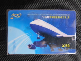 China Prepaid Phonecard,2000 Zhuhai International Aviation&aerospace Exhibition,used - Vliegtuigen