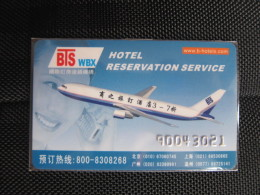 China Hotel Reservation Service Card,BTS Airplane,Coffee And Calender On Backside - Avions