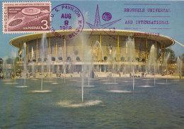 D26364 CARTE MAXIMUM CARD 1958 USA - US PAVILION WORLD EXPO BRUSSELS CP ORIGINAL