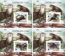 MOZAMBIQUE 2016 - WWF African Otter, Set Of 4 Deluxe Sheets - Unused Stamps