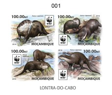MOZAMBIQUE 2016 - WWF African Otter, Collective Deluxe Sheet - Unused Stamps