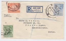 Aden/Czechoslovakia REGISTERED COVER 1953 - Briefmarken