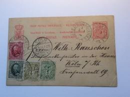 Luxembourg Entier Carte Postale 10c + AFFR. 6 COULEURS ! 1894 > Köln (lettre Cover Postal Stationery Luxemburg