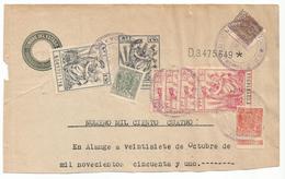 ESPAÑA- SERIE AÑOS 1940/1955- CABECERA DE PAPEL SELLADO FISCAL. SELLO DE 8ª CLASE + FISCALES - Fiscales