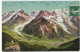 Carte Geographique Chamonix Flegere Les Praz Chamonix Argentieres Sommets Couleur Edit Wehrli Zurich 14129 - Non Classificati