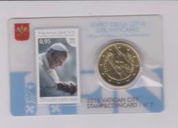 Coin Vatican City - Vaticaan - Vaticano 0.50 Euro 2015 UNC Stamp & Coin Card Nr. 7 Pope Franciscus - Vaticaanstad