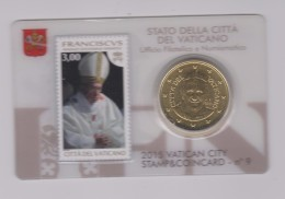 Coin Vatican City - Vaticaan - Vaticano 0.50 Euro 2015 UNC Stamp & Coin Card Nr. 9 Pope Franciscus - Vaticaanstad