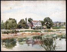 AQUARELLE 265 X 340 Mm, ARTISTE: MATHILDE CAUDEL DIDIER ( BENEZIT ), 51, CHARLY, 1908 - Watercolours