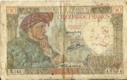 France Billet 50 Francs Jacques Coeur  1941 Etat Moyen - 1871-1952 Anciens Francs Circulés Au XXème