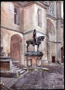 AQUARELLE 385 X 280 Mm, ARTISTE: MATHILDE CAUDEL DIDIER ( BENEZIT ), 60, PIERREFONDS, STATUE DU DUC D'ORLEANS, 1912 - Aquarelles