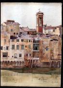 AQUARELLE 390 X 280 Mm, ARTISTE: MATHILDE CAUDEL DIDIER ( BENEZIT ), ITALIE, FLORENCE, FIRENZE, 1908 - Aquarelles