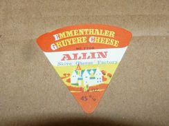 Cheese Queso Kase Label Etikette Etiqueta ~1920-1950 Emmenthaler Gruyere Cheese Allin - Quesos
