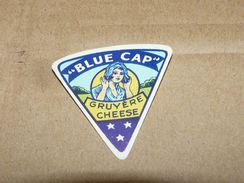 Cheese Queso Kase Label Etikette Etiqueta ~1920-1950 Blue Cap Gruyere Cheese - Quesos